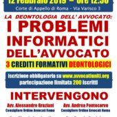 """Convegno 12/2/19: """"I PROBLEMI INFORMATICI DELL'AVVOCATO"""""""